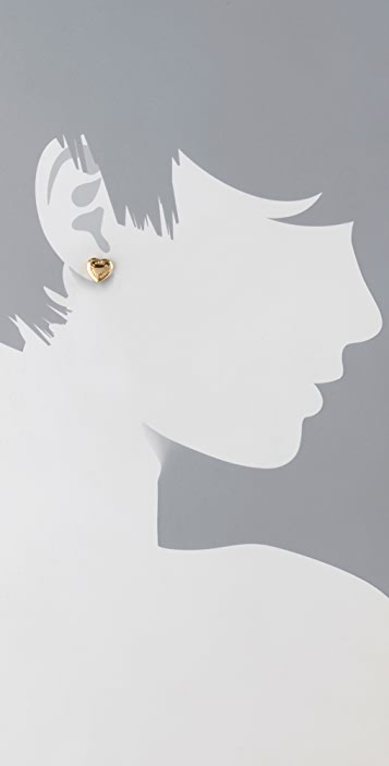 Marc by Marc Jacobs Domed Logo Heart Stud Earrings