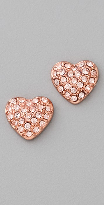 Marc by Marc Jacobs Pave Heart Stud Earrings