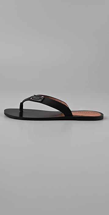Marc by Marc Jacobs Logo Plaque Leather Flip Flops