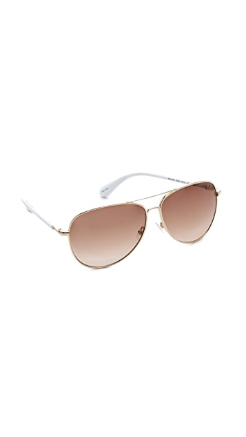 Marc by Marc Jacobs Oversized Metal Aviator Sunglasses
