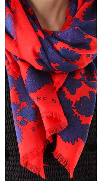 Marc by Marc Jacobs Onyx Floral Scarf