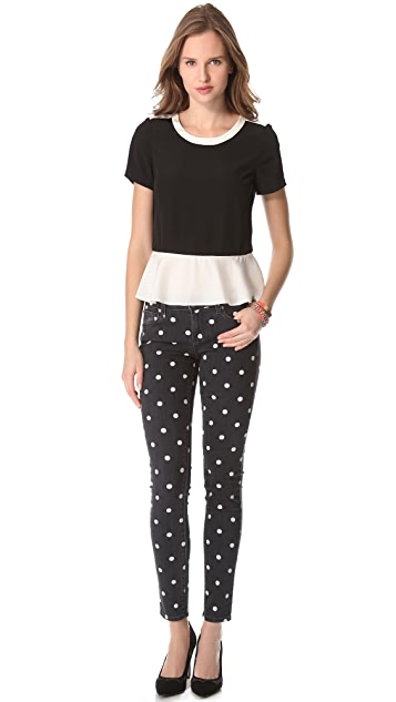 Marc by Marc Jacobs Avery Silk Peplum Top