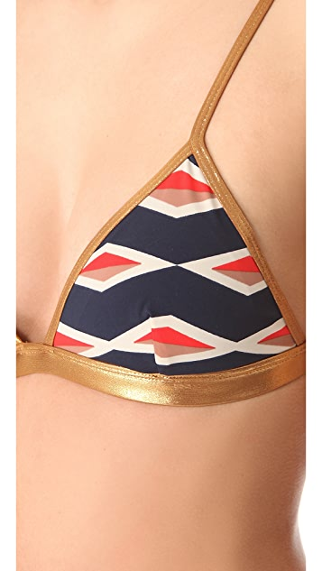 Marc by Marc Jacobs Hayley Stripe Triangle Bikini Top