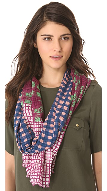 Marc by Marc Jacobs Woven Printed Mix Check Scarf