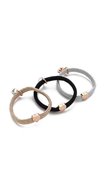 Marc by Marc Jacobs New Plaque Cluster Pony Hair Ties