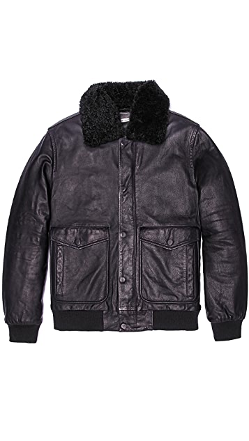 Marc by Marc Jacobs Lewisham Leather Bomber Jacket with Removable Fur Collar