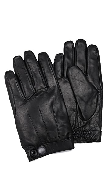 Marc by Marc Jacobs Leather Gloves with Snap Closure