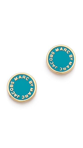 Marc by Marc Jacobs Enamel Logo Disc Stud Earrings