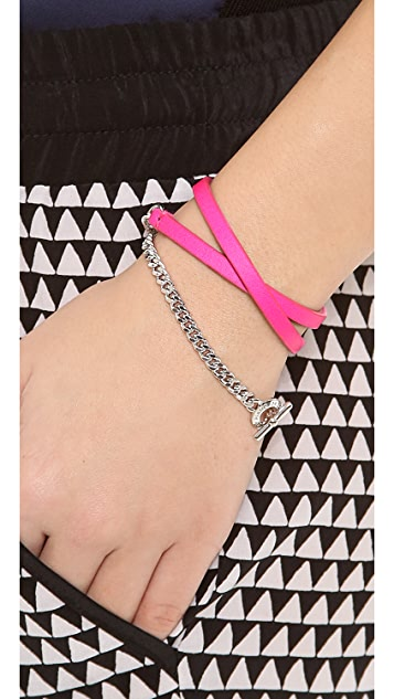 Marc by Marc Jacobs Triple Wrap Leather & Chain Bracelet