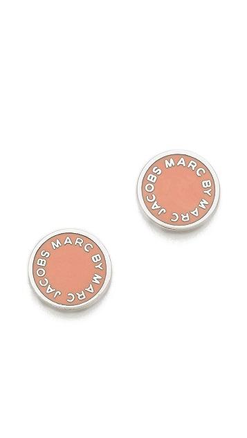 Marc by Marc Jacobs Enamel Logo Disc Stud Earrings