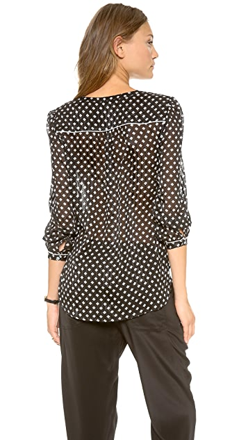 Marc by Marc Jacobs Mini Diamond Crinkle Long Sleeve Blouse