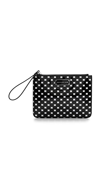 Marc by Marc Jacobs Techno Block Print Wristlet Zip Pouch
