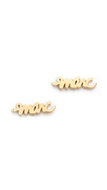 Marc by Marc Jacobs Script Snake Stud Earrings