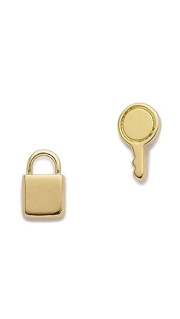 Marc by Marc Jacobs Mini Lock & Key Stud Earrings