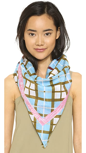 Marc by Marc Jacobs Diagonal Plaid Scarf