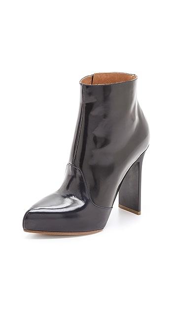 Maison Margiela Leather Booties with Chunky Heel