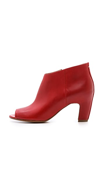 Maison Margiela Leather Peep Toe Booties