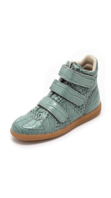 Maison Margiela Croc Embossed Leather Sneakers