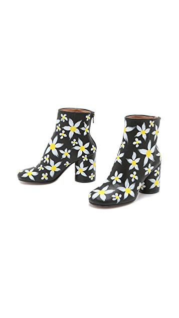 Maison Margiela Hand Painted Floral Booties
