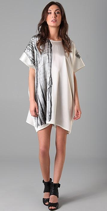 Markus Lupfer Silk Trompe l'Oeil Caftan Dress