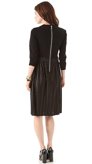 Markus Lupfer Leather Look Pleated Dress