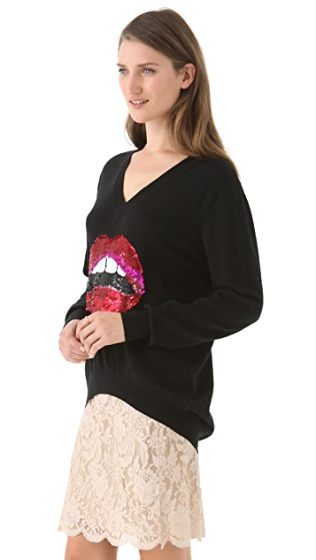 Markus Lupfer Sequined Red Lip Joey Sweater