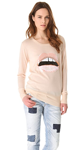 Markus Lupfer Nude Sequin Lip Sweater