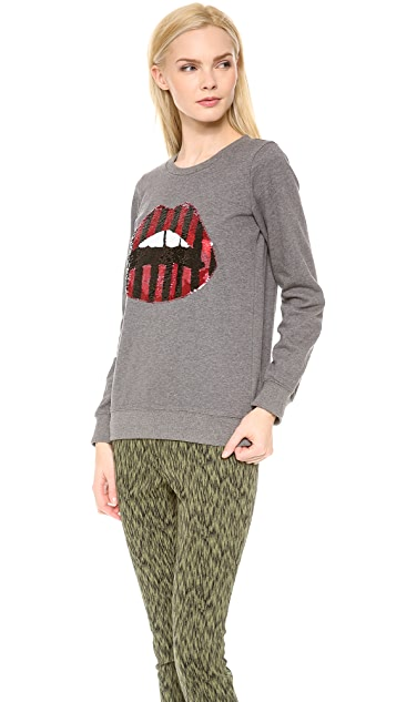 Markus Lupfer Sequined Lara Lip Sweatshirt
