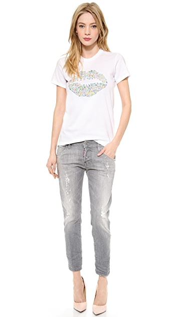 Markus Lupfer Sequined Smacker Lip Tee