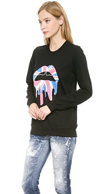 Markus Lupfer Union Jack Drip Lip Sweatshirt