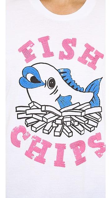 Markus Lupfer British Fish & Chips Sequin Alex Tee