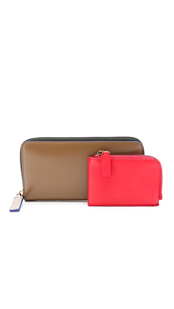 Marni Long Leather Zip Wallet