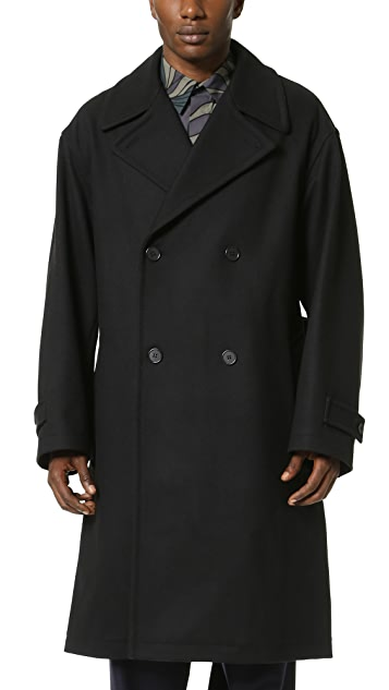 Marni Double Breasted Felt Overcoat