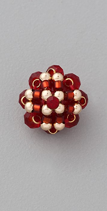 Miguel Ases Crystal Bronze Rondelle Earrings