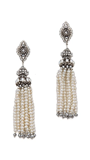 Miguel Ases Pearl Tassel Earrings with Pyrite Quartz