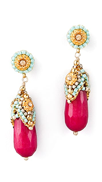 Miguel Ases Pink Jade & Crystal Drop Earrings