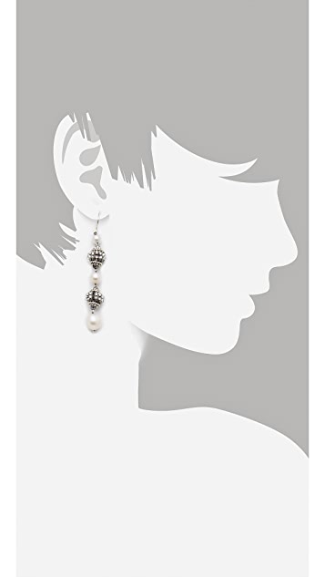 Miguel Ases Pyrite Linear Drop Earrings