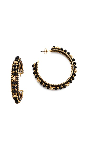 Miguel Ases Mirror Beaded Hoops