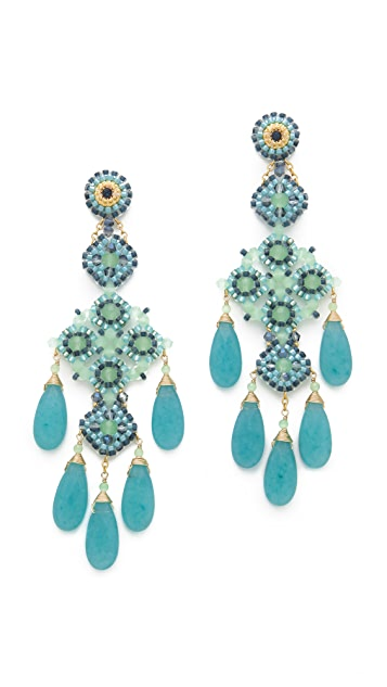 Miguel Ases Long Quartz Chandelier Earrings