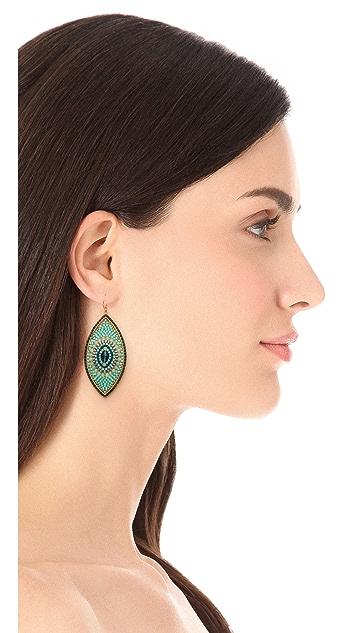 Miguel Ases Beaded Oval Drop Earrings