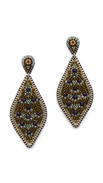 Miguel Ases Beaded Statement Earrings