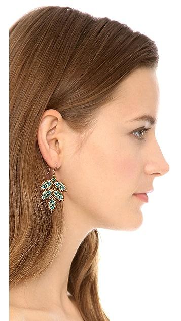 Miguel Ases Beaded Leaf Earrings