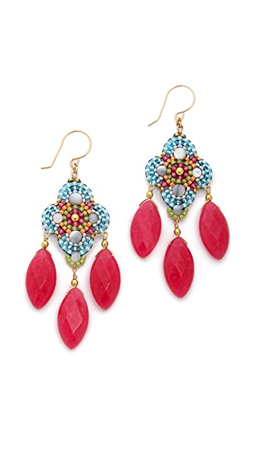 Miguel Ases Mother Of Pearl Beaded Earrings