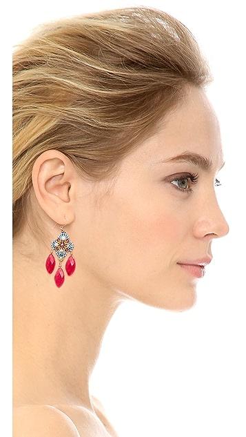 Miguel Ases Mother Of Pearl Beaded Earrings