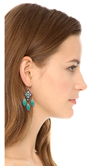 Miguel Ases Beaded Triple Drop Earrings