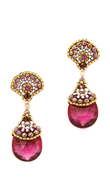 Miguel Ases Scallop Stone Drop Earrings