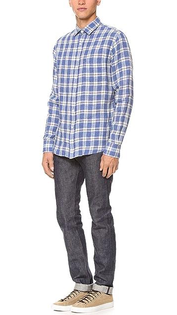 Mason's Linen Plaid Sport Shirt