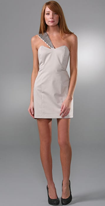 Michelle Mason Asymmetrical Dress with Metal Trim