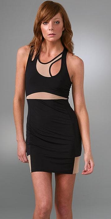 Michelle Mason Asymmetrical Tank Dress with Mesh