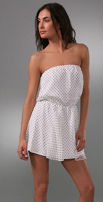 Michelle Mason Polka Dot Strapless Dress